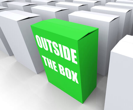 creatively: Outside the Box Meaning to Think Creatively and Conceptualize Stock Photo