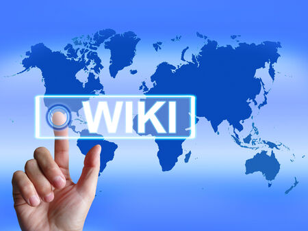 wiki: Wiki Map Meaning Internet Information and Encyclopaedia Websites Stock Photo