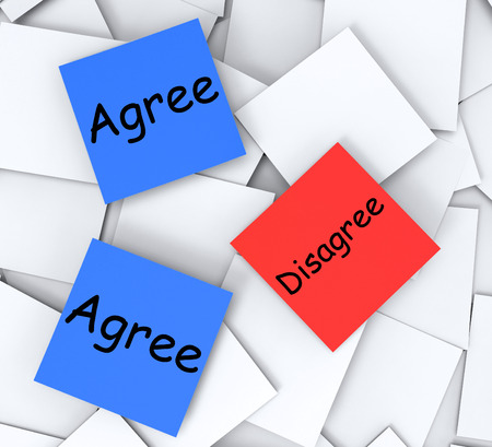disagreed: Agree Disagree Post-It Notes Meaning Opinion And Point Of View Stock Photo