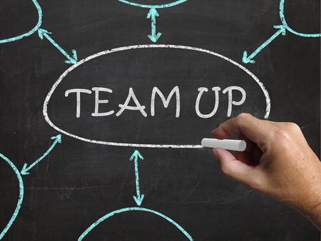 teaming up: Team Up Blackboard Meaning Partnership And Joint Forces