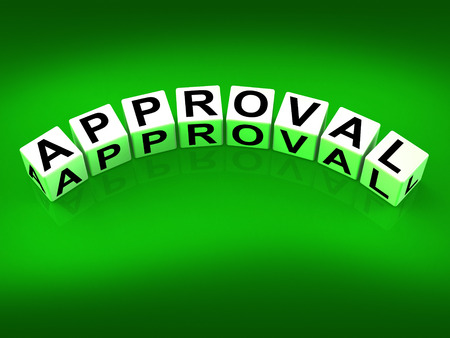 approvement: Approval Blocks Showing Validation Acceptance and Approved Stock Photo