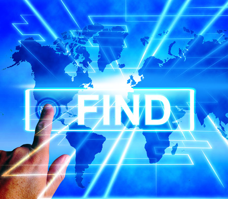 Find Map Displaying Internet or Online Discover or Hunt Stock Photo - 28741254