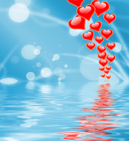 peacefulness: Hearts On Sky Displaying Romantic Freedom Or Peacefulness Stock Photo