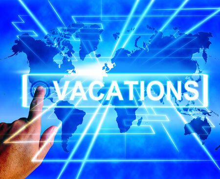sabbatical: Vacations Map Displaying Online Planning or Worldwide Vacation Travel Stock Photo