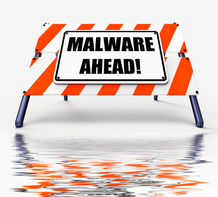 malware: Malware Ahead Displaying Malicious Danger for Computer Future Stock Photo