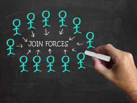 joining forces: Join Forces On Blackboard Showing Armed Forces And Reliability