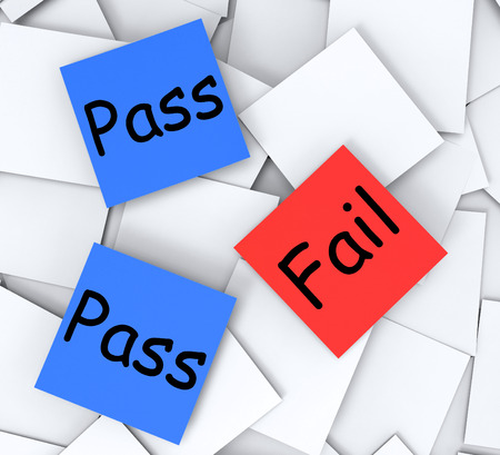 satisfactory: Pass Fail Post-It Notes Meaning Satisfactory Or Declined