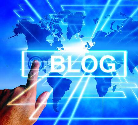 Blog Map Displaying Internet or Worldwide Blogging Stock Photo