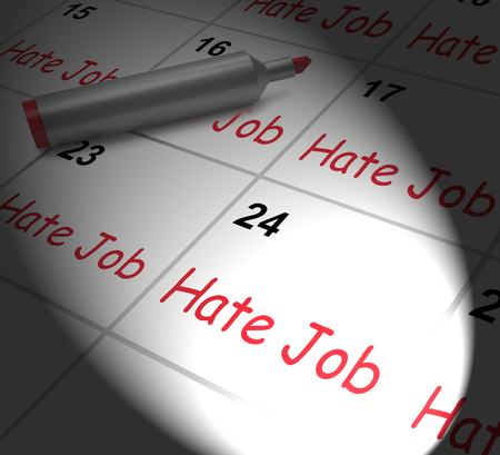 miserable: Hate Job Calendar Displaying Miserable At Work Stock Photo