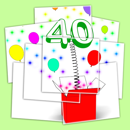 unexpected: Number Forty Surprise Box Displaying Unexpected Celebration Or Party
