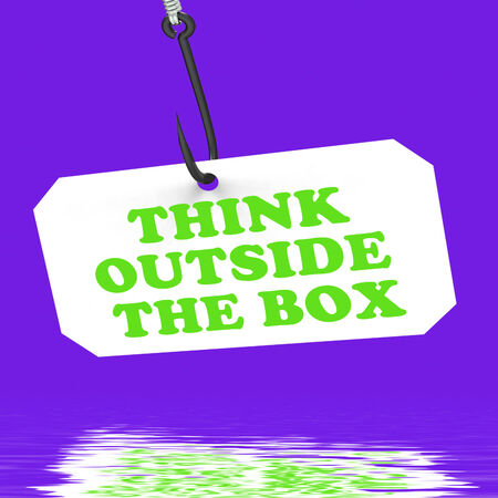 Think Outside The Box On Hook Displaying Imagination Innovation And Creativity photo