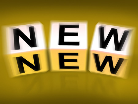 newness: New Blocks Displaying Introductory Recent Modern or Newness Stock Photo