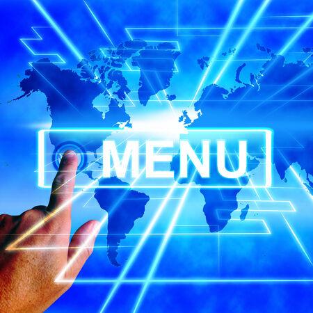 tabulation: Menu Map Displaying International Choosing and Options Stock Photo