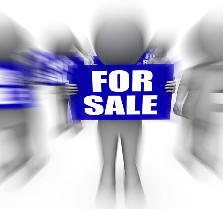discounted: Characters Holding For Sale Signs Displaying On Sale Or Discounted Goods Stock Photo