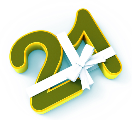 twenty one: Number Twenty One With Ribbon Displaying Creative Design Or Birthday Adornment