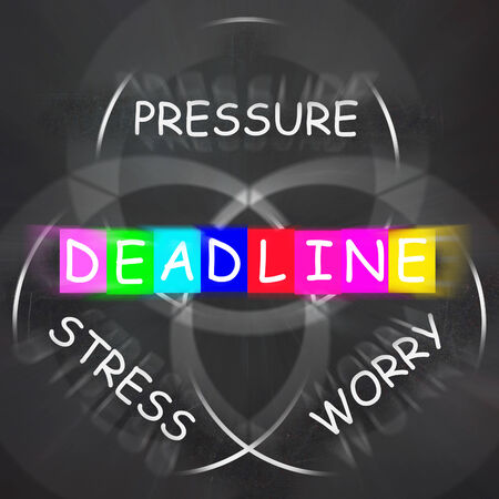 time limit: Deadline Words Displaying Stress Worry and Pressure of Time Limit