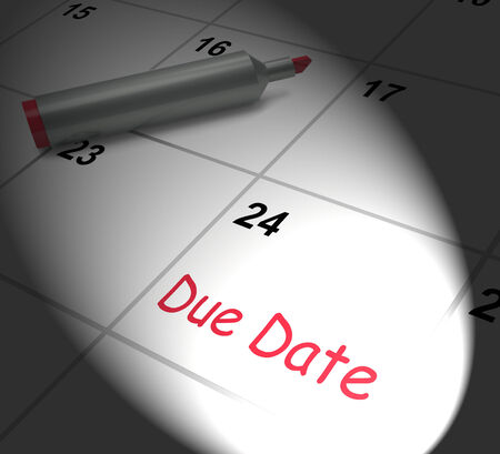 due date: Due Date Calendar Displaying Deadline For Submission Stock Photo