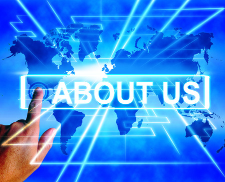 about us: About Us Map Displaying Website Information of an International Service