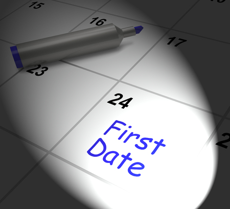 first date: First Date Calendar Displaying Seeing Somebody And Romance