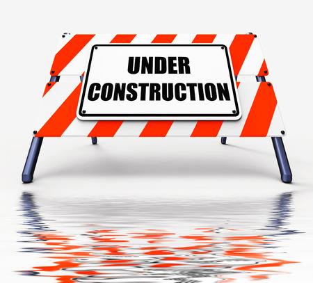 insufficient: Under Construction Sign Displaying Partially Insufficient Construct Stock Photo