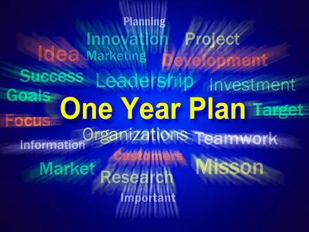 next year: One Year Plan Brainstorm Displaying Goals For Next Year Stock Photo