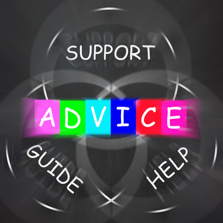recommendations: Guidance Displaying Advice and to Help Support and Guide Stock Photo