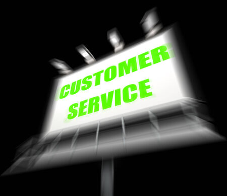 inquiries: Customer Service Media Sign Displaying Consumer Assistance and Serving