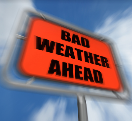 Bad Weather Ahead Sign Displaying Dangerous Prediction photo