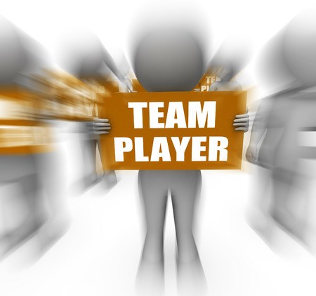 teammate: Characters Holding Team Player Signs Displaying Teamwork Partnership Or Teammate