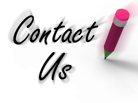 Contact Us Sign with Pencil Displaying Customer Care