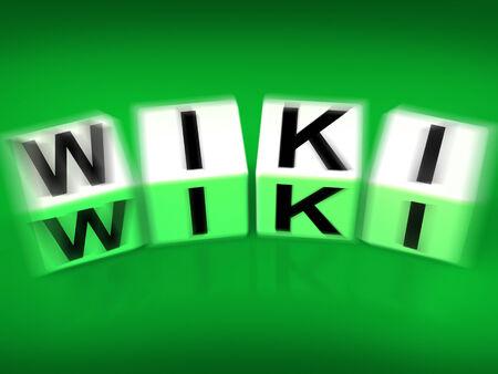 wiki wikipedia: Wiki Blocks Displaying Wikipedia and Internet Faqs Stock Photo