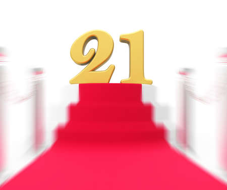 twenty one: Golden Twenty One On Red Carpet Displaying Entertainment Business Event Or Celebration