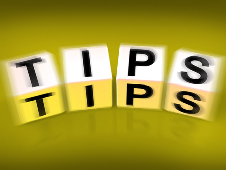 suggestions: Tips Blocks Displaying Hints Suggestions and Advice Stock Photo