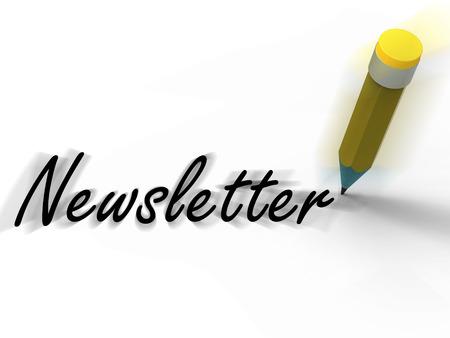 Nieuwsbrief met Potlood Artikel Geschreven Nieuws en Informatie Stockfoto
