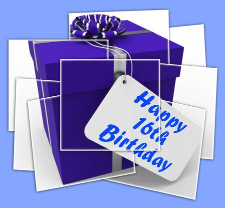 cadeau anniversaire: Cadeau d'anniversaire Joyeux 16�me Affichage F�licitations Age Seize