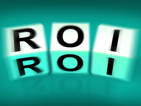 roi: ROI Blocks Displaying Financial Return on Investment Stock Photo