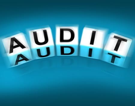 scrutiny: Audit Blocks Displaying Investigation Examination and Scrutiny Stock Photo