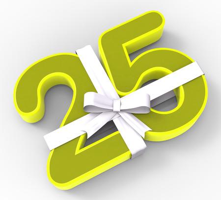 twenty five: Number Twenty Five con Ribbon Viendo Celebraci�n vig�simo quinto cumplea�os O