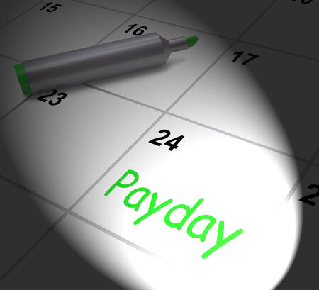 worked: Payday Calendar Displaying Salary Or Wages For Employment Stock Photo