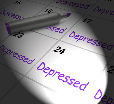 mentally ill: Depressed Calendar Displaying Discouraged Despondent Or Mentally Ill