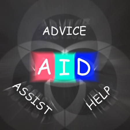 aiding: Supportive Words Displaying Advice Assist Help and Aid