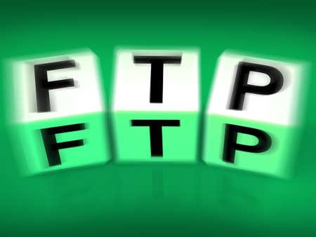 ftp: FTP Blocks Displaying File Transfer Protocol Stock Photo