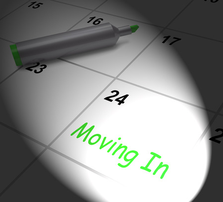 Moving In Calendar Displaying New House Or Place Of Residence Banco de Imagens