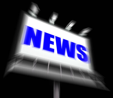 articles: News Sign Displaying Newspaper Articles and Headlines or Media Info