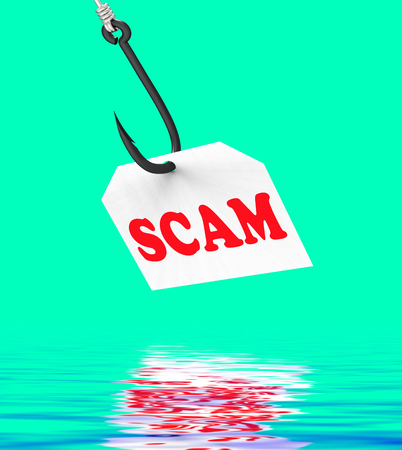web scam: Scam On Hook Displaying Schemes Scamming Or Deceits