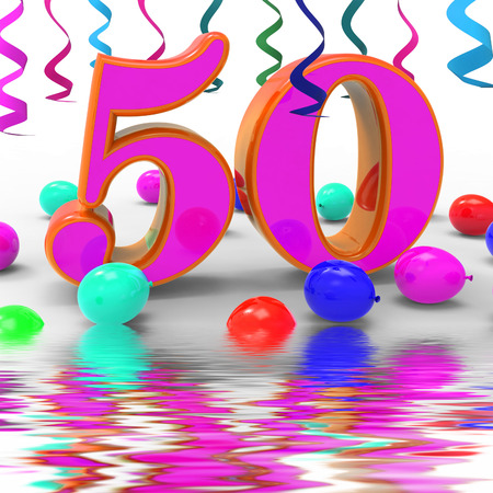 50th: Number Fifty Party Displaying Colourful Birthday Party Or Decorated Celebration Stock Photo