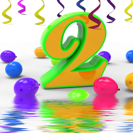 Number Two Party Displaying Birthday Celebration Or Party photo