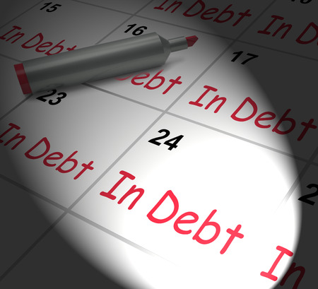 payable: In Debt Calendar Displaying Money Owing And Due