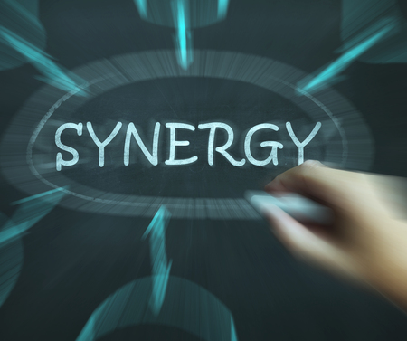 combined effort: Synergy Diagram Meaning Joint Effort And Cooperation Stock Photo