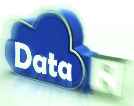 dataflow: Unidad USB de datos cloud Mostrando Archivos digitales de almacenamiento y de flujo de datos